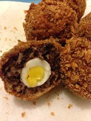 Black pudding quail's scotch egg