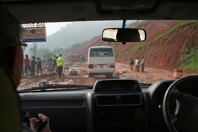 driving through a mud slide