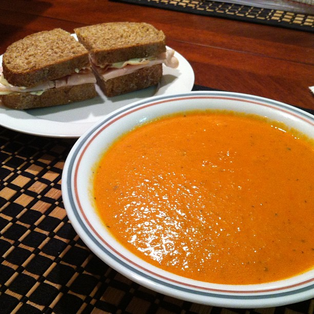 Homemade tomato soup with turkey Sammie on wheat bread