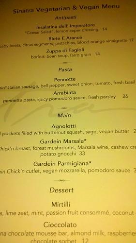 Sinatra Vegetarian menu