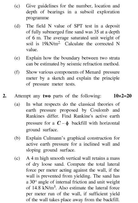UPTU B.Tech Question Papers - TCE-603-Geotechnical Engineering – II