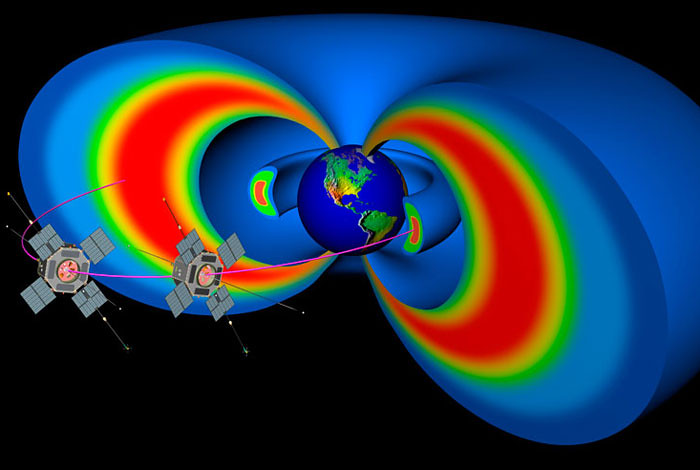 This NASA rendering depicts Earth's Van Allen radiation belts and the path of the Van Allen Probe spacecraft, which were launched in August 2012. Data from the spacecraft have confirmed a never-before-seen phenomenon—a long-lived zone of high-energy electrons residing between the inner and outer radiation belts. (Credit: NASA illustration)