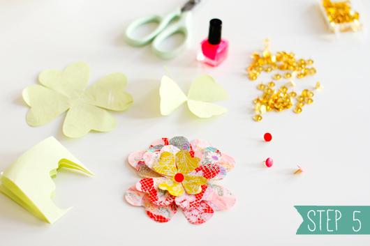 Easy DIY: Paper Flowers & Painted Tacks