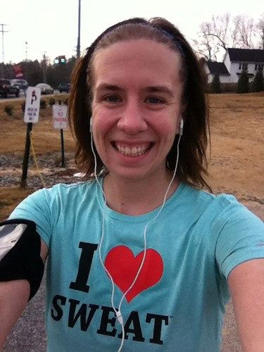 "Finally rocking my ""I love sweat"" shirt! @aliontherun"