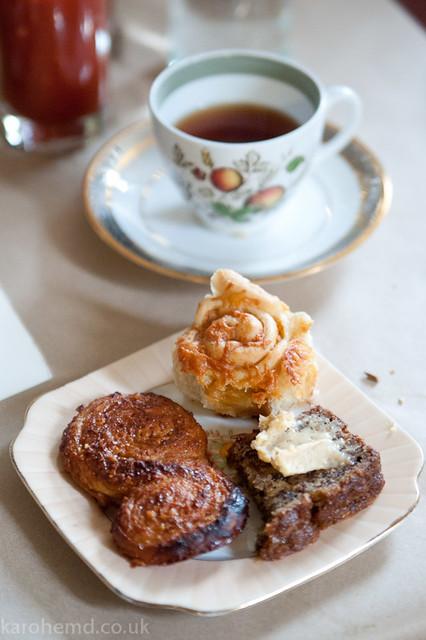 Marmite/cheese scroll, banana bread, praline twist