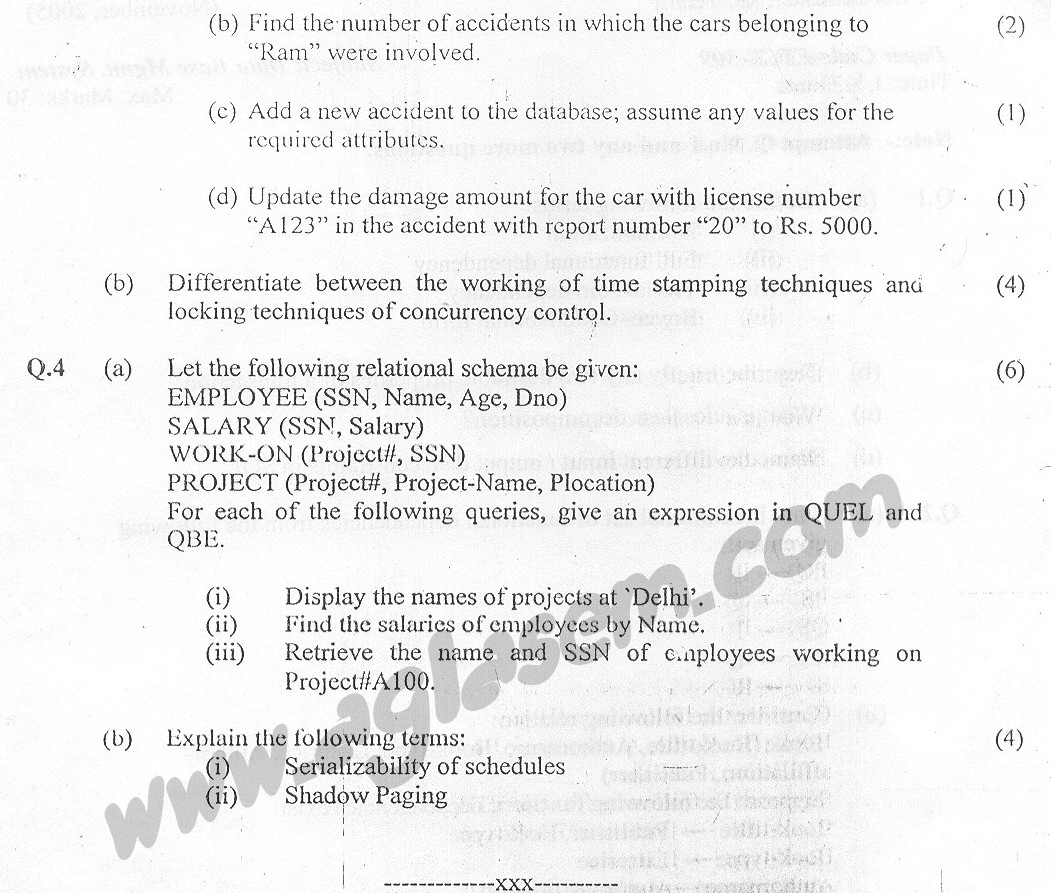 GGSIPU Question Papers Fifth Semester – Second Term 2005 – ETCS-309