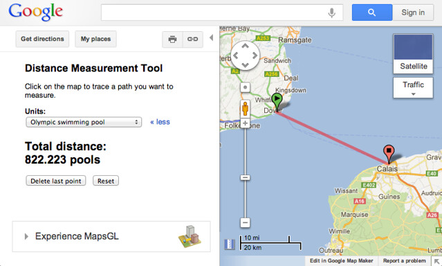 Measure distance in pools in Google Maps | Swimmer\'s Daily