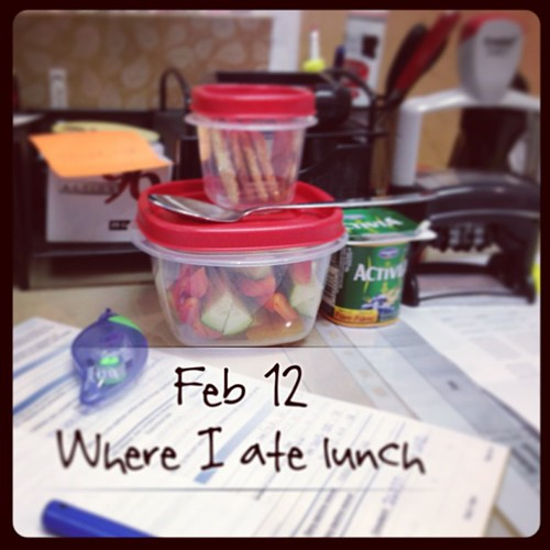 Feb 12 - where I ate lunch {predictable; at my desk @ work} #fmsphotoaday #lunch