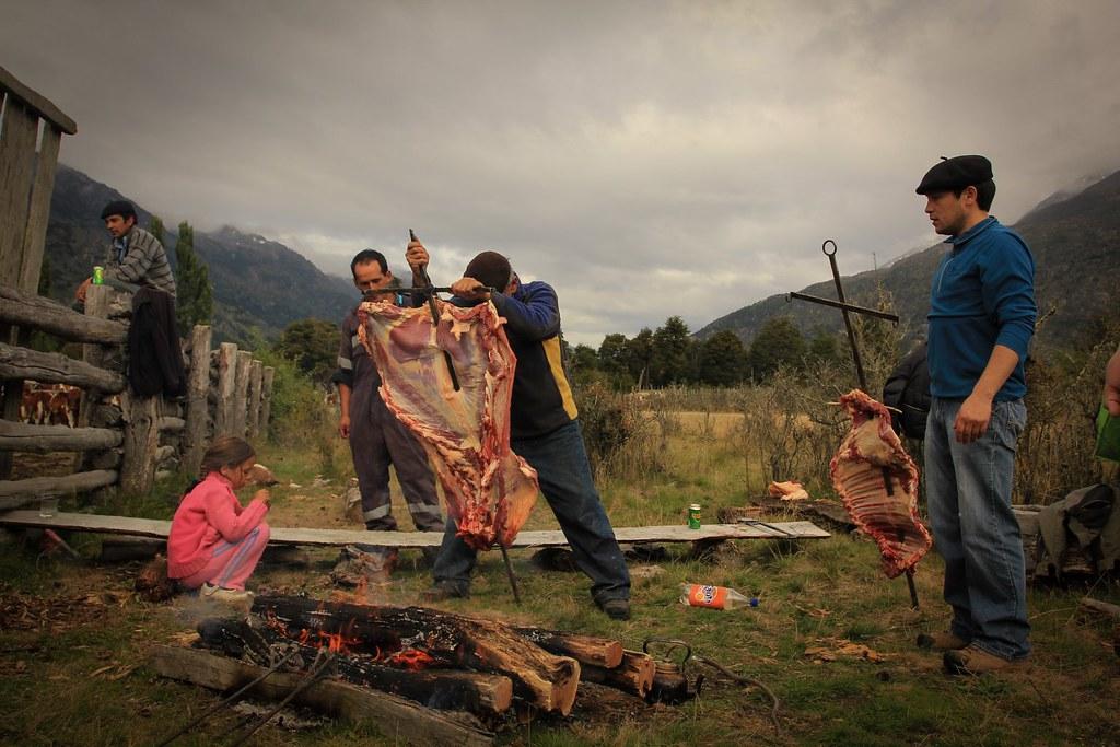 Asasdo de Cordero. Roasted Lamb. Los Nadis. Aysen, Chile.