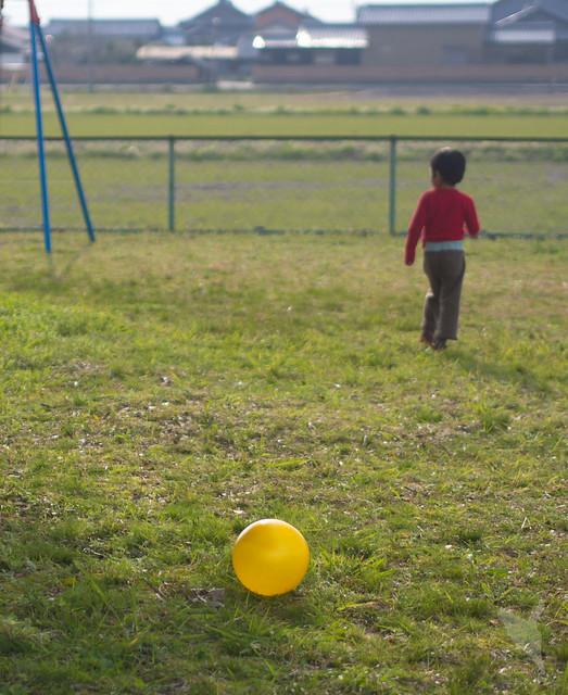 公園で後ろ姿とボールと