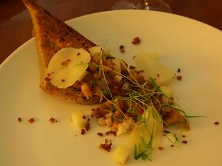 Rye Toast, Brown Shrimp, Crispy Pancetta, Pickled apple and mouli