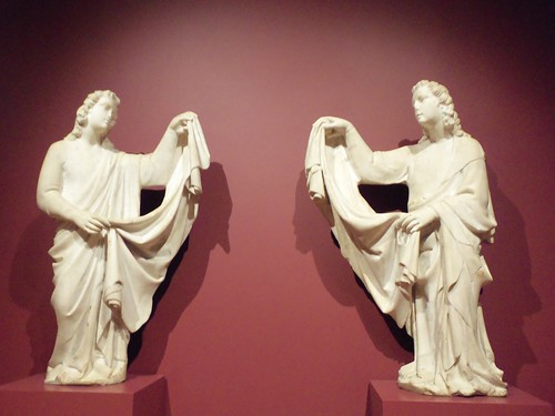 Pair of angels from a tomb, about 1330-50, marble, workshop of Tino da Camaino (2)