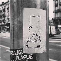 başbakan yarım ucube #brussels #streetart #sticker #bw