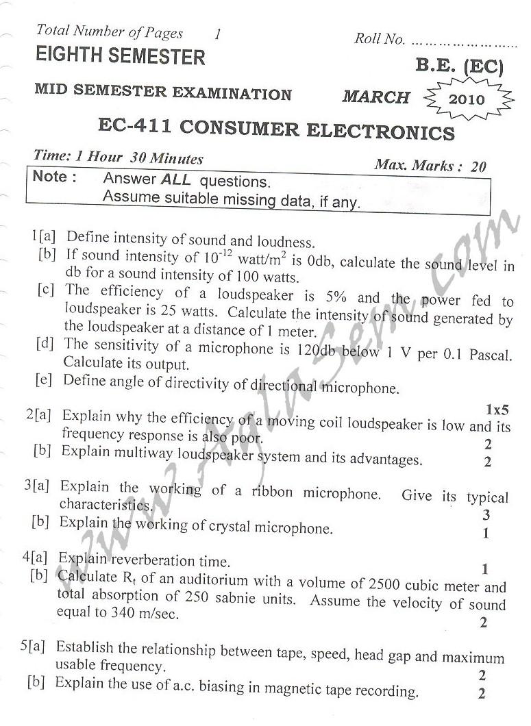 DTU Question Papers 2010 – 8 Semester - Mid Sem - EC-411