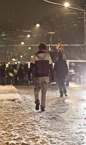 13 februar 2013 Blockade  Parkstraße Demonstrant