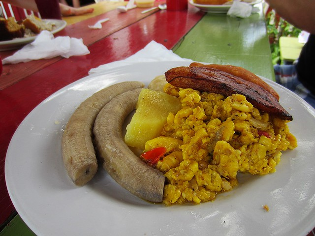 Matt's breakfast: saltfish and ackee