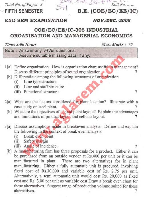 NSIT Question Papers 2008 – 5 Semester - End Sem - COE-EC-EE-IC-305