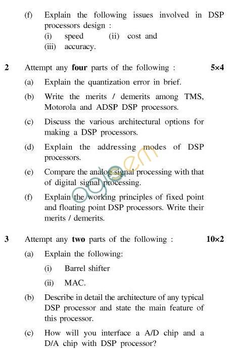 UPTU B.Tech Question Papers -EC-034-Architecture & Applications of Digital Signal Processors
