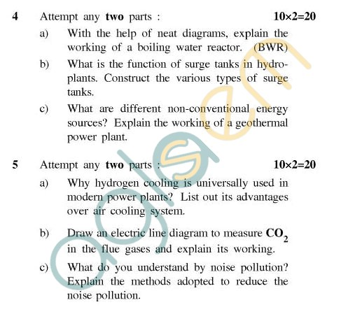UPTU: B.Tech Question Papers - ME-801 - Power Plant Engineering