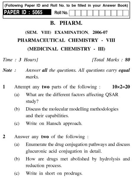 UPTU B.Pharm Question Papers PH-484 - Pharmaceutical Chemistry-VIII (Medicinal Chemistry-III)