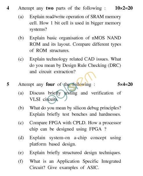 UPTU: B.Tech Question Papers -TEC-603-VLSI-Technology & Design
