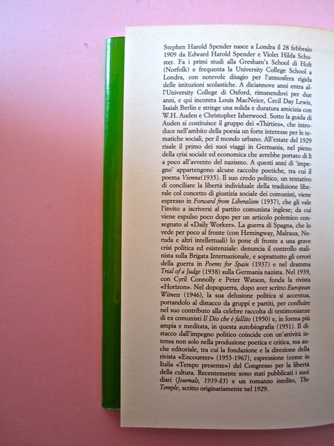 Stephen Spender. Un mondo nel mondo. Il Mulino 1992. Sovracoperta di Alberto Bernini. Risvolto della quarta di sovracoperta (part.), 1