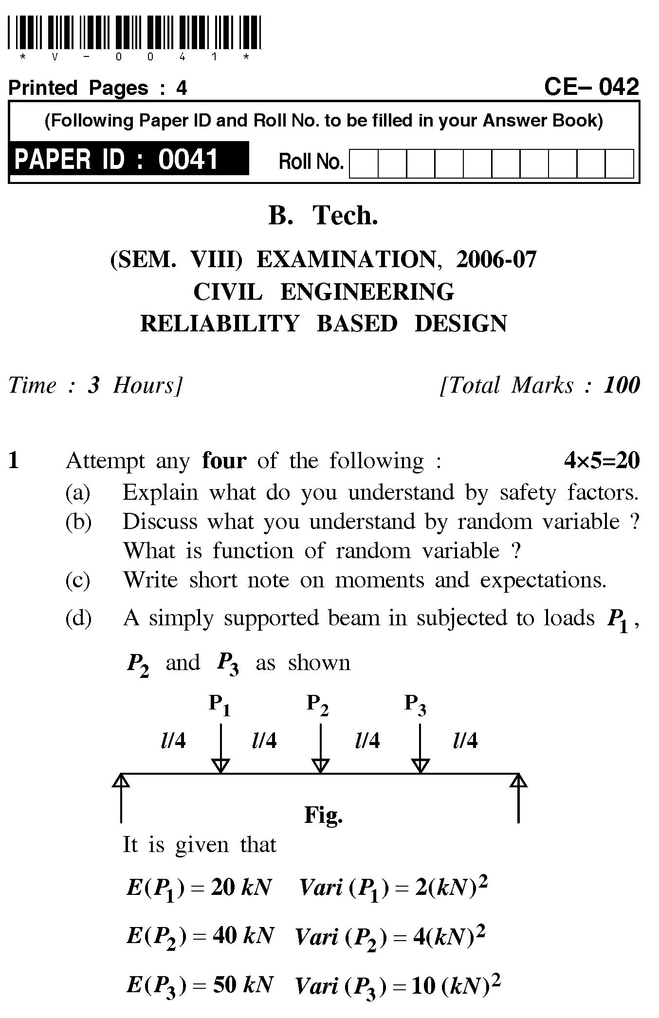 UPTU B.Tech Question Papers - CE-042-Reliability Based Design