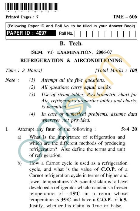 UPTU B.Tech Question Papers - TME-606 - Refrigeration & Air Conditioning