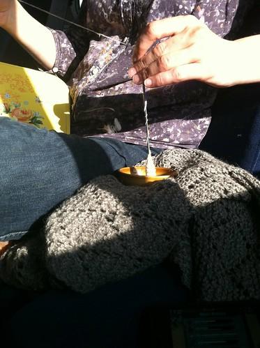 Cotton tahki spinning on Amtrak