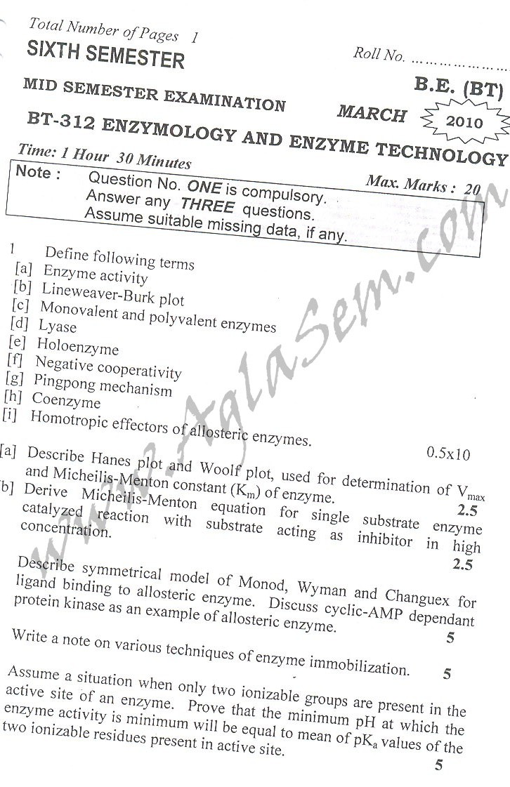 DTU: Question Papers 2010 – 6 Semester – Mid Sem
