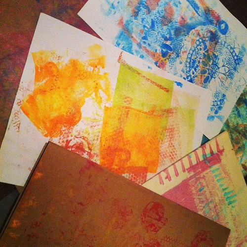 "Gelli Print ""Wipe Offs"" and ""Accidents""."