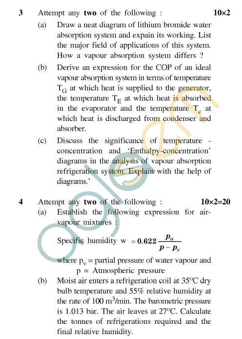 UPTU: B.Tech Question Papers - ME-606 - Refrigeration & Air Conditioning