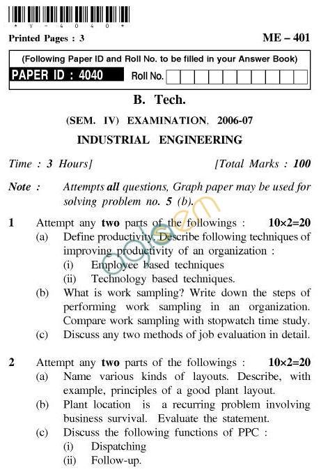 UPTU: B.Tech Question Papers - ME-401 - Industrial Engineering
