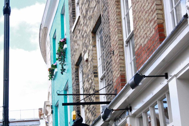 Close up blue house notting hill london