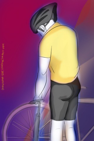 """Cyclist at the Pump"" (#89: Project 365 Sketches)"