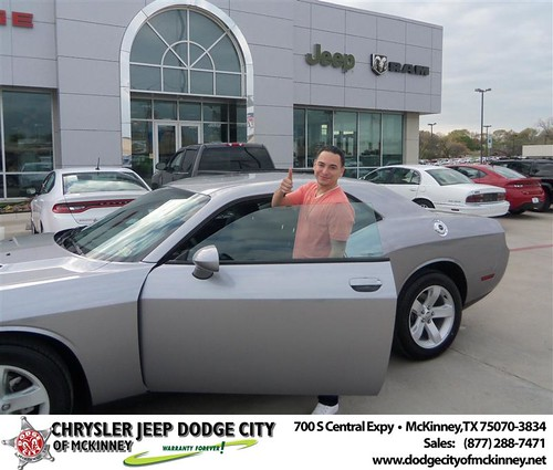 Dodge City of McKinney would like to say Congratulations to Agustin Cabrera on the 2013 Dodge Challenger by Dodge City McKinney Texas