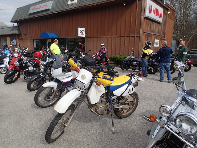 DR350 and Transalp at Razees in North Kingstown, RI ... yes, that's me in the background on a Honda Metropolitan