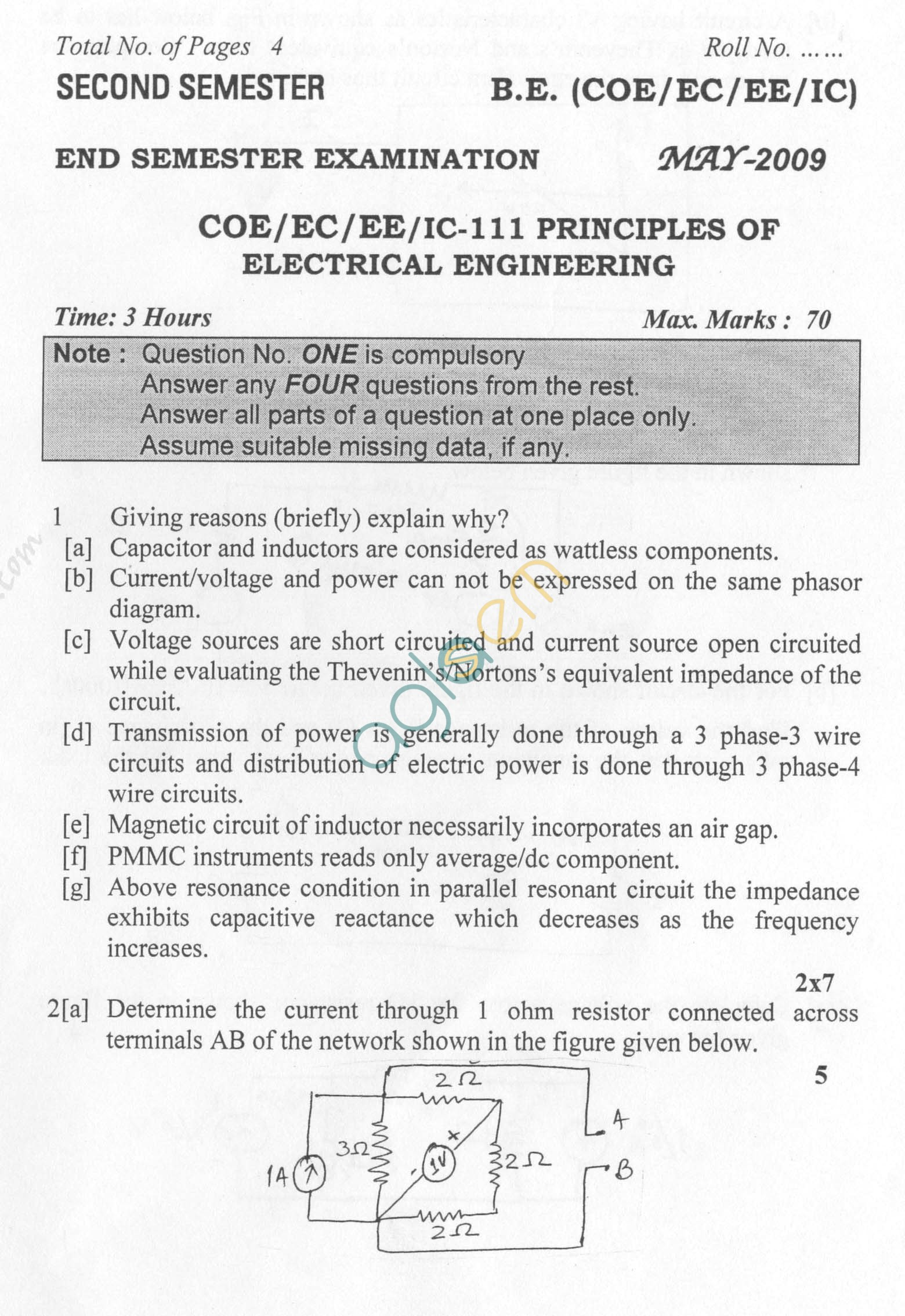 NSIT: Question Papers 2009 – 2 Semester - End Sem - COE-EC-EE-IC-111