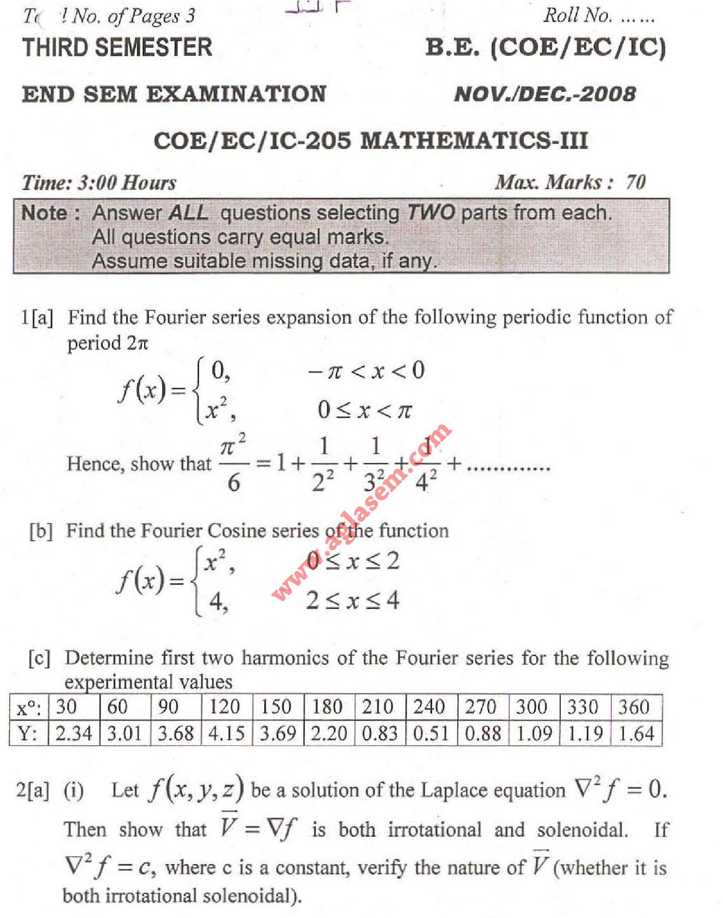 NSIT Question Papers 2008 – 3 Semester - End Sem - COE-EC-IC-205