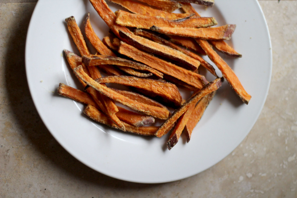 cornstarch coated sweet potato fries