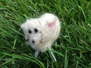 A needle-felted sheep from Craftcation