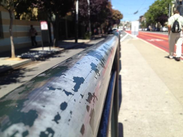 SF Muni metro stop railing