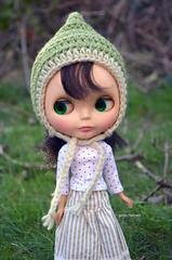 Green and Cream Pixie Hat