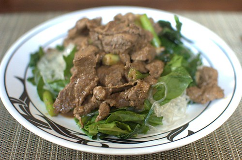 Low-carb Mongolian lamb on kelp noodles