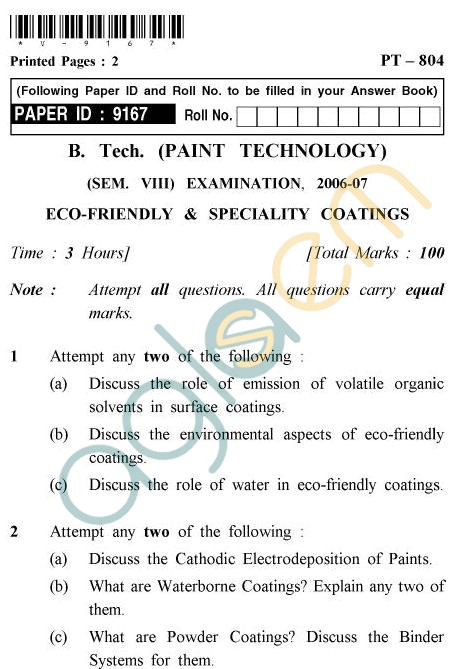 UPTU B.Tech Question Papers -PT-804 - Eco-Friendly & Specialty Coatings