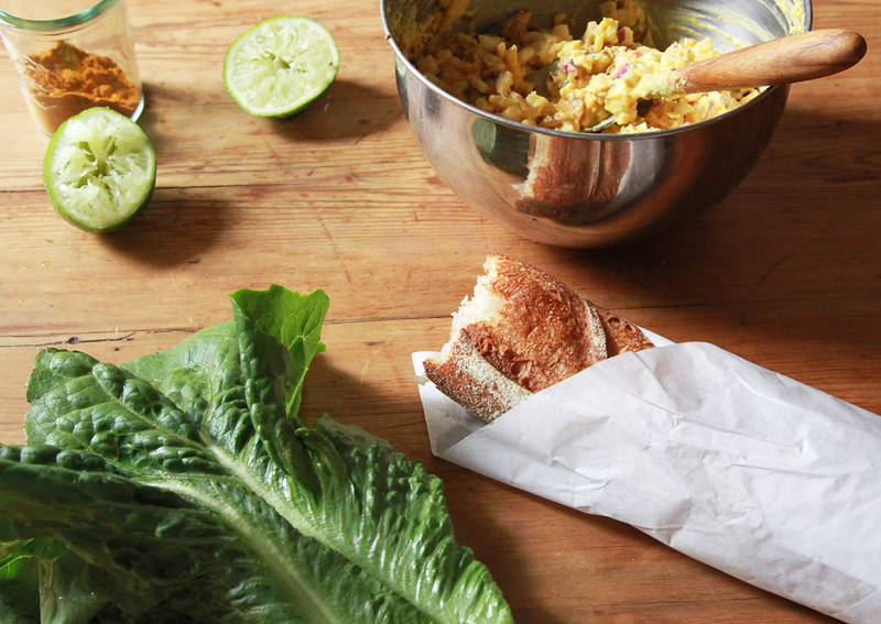 curried egg salad sandwich with apple and almonds