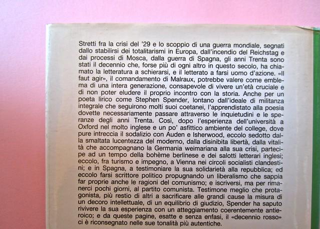 Stephen Spender. Un mondo nel mondo. Il Mulino 1992. Sovracoperta di Alberto Bernini. Quarta di sovracoperta (part.), 2