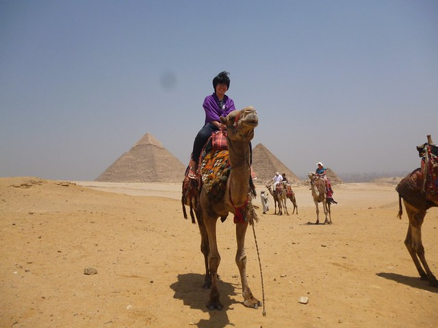 Camel ride with view of pyramids