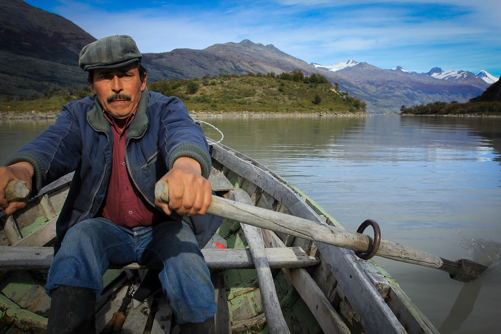 Luigo Mancilla, a gaucho living on the southeastern arm of the Lago O'Higgins, rows us over the small channel to get to another penninsula which will bring us closer the Southen Patagonian Ice Cap.