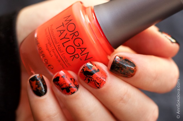 04 Morgan Taylor Halloween Collection 2014   Orange Crush swatches splatter nails